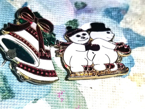 Pin: Enamel Christmas Pin Lot of Two
