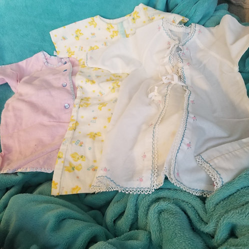 Lot of three vintage infant / baby nightgowns