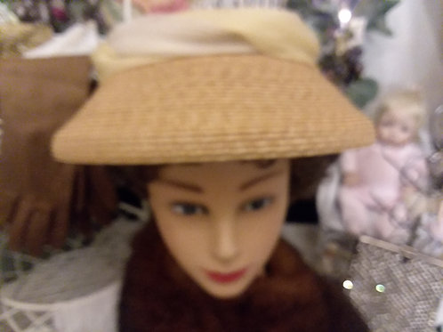Vintage Ladies Woven Hat with Net Detailing