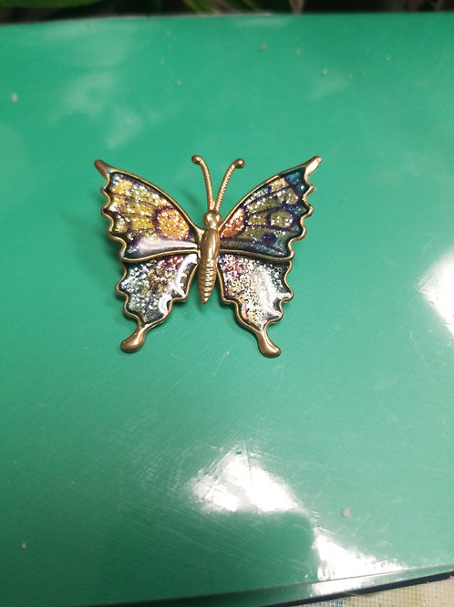 Pin: Glittery Butterfly Pin with Gold Accents