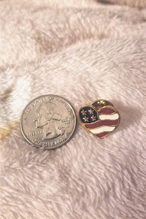 Lapel pin: Avon, enamel red white & blue heart American flag