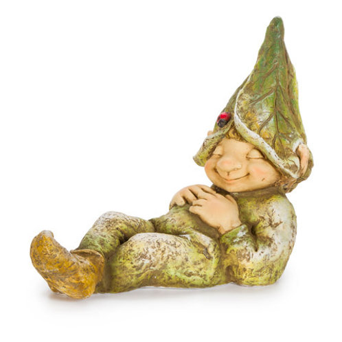 Yard Decor: Sleeping Garden Gnome or Elf, Laying Down 15 inches