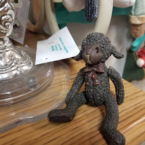 Vintage Boyd's Bears Jointed Black Lamb Figurine