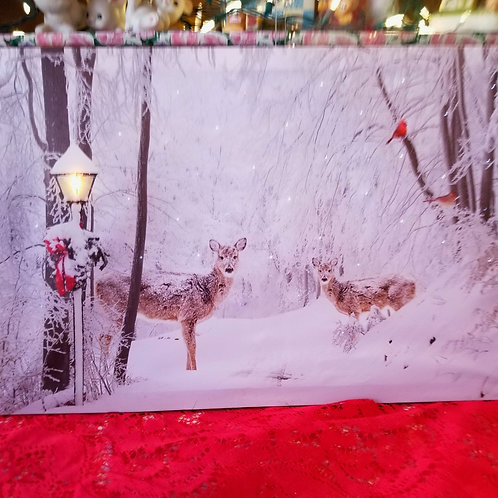 Snowy Woods with Deer Christmas Light-up Canvas: 23.62 x 15.75 inches