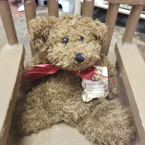 "Plush: Boyds 1996 Flattie Bear ""Wilmar"" with red bow"