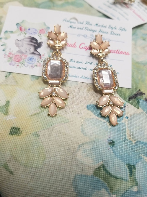 Earrings: Peach Gems, Gold and Rhinestone Dangle