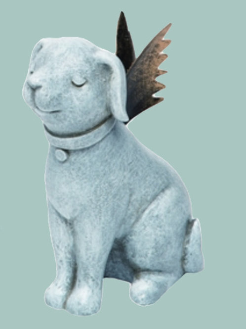 Angel Dog Memorial with Gold Wings