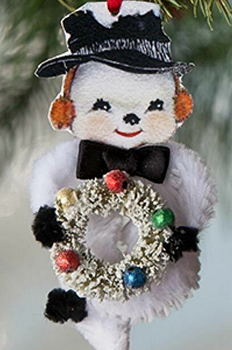 Holiday CHENILLE SNOWMAN ORNAMENT BETHANY LOWE
