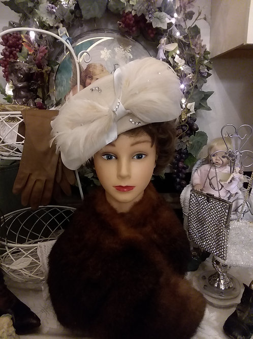 Ivory Colored Ladies Hat with Feathers and Tulle