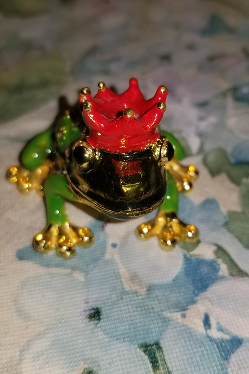 Box: Bejeweled Limoges-like Hinged Frog-Prince Collectable