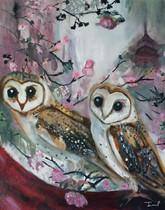 Barn Owls & Cherry Trees Print