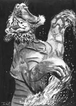 Roaring White Tiger Print