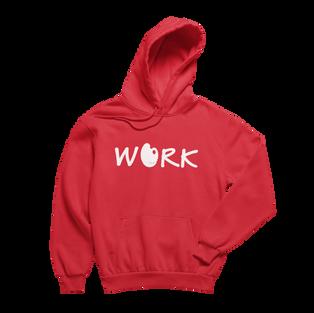Work Red Hoodie (White Print)