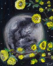Full Moon & Yellow Flowers