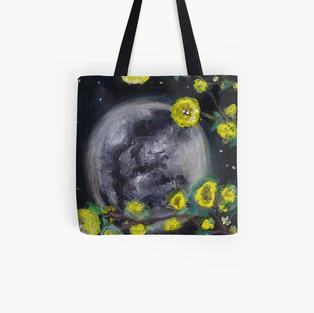 Moon & Flowers Tote Bag