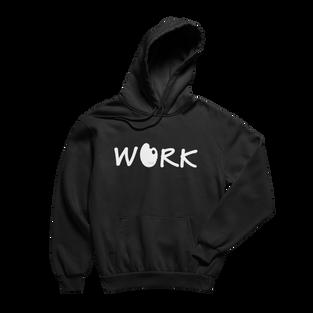 Work Black Hoodie (White Print)