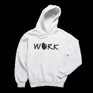 Work White Hoodie (Black Print)