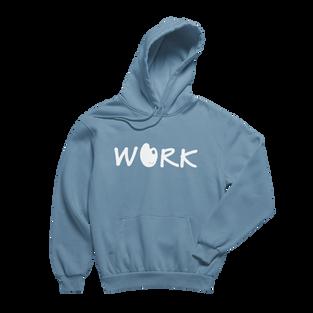 Work Indigo Blue Hoodie (White Print)