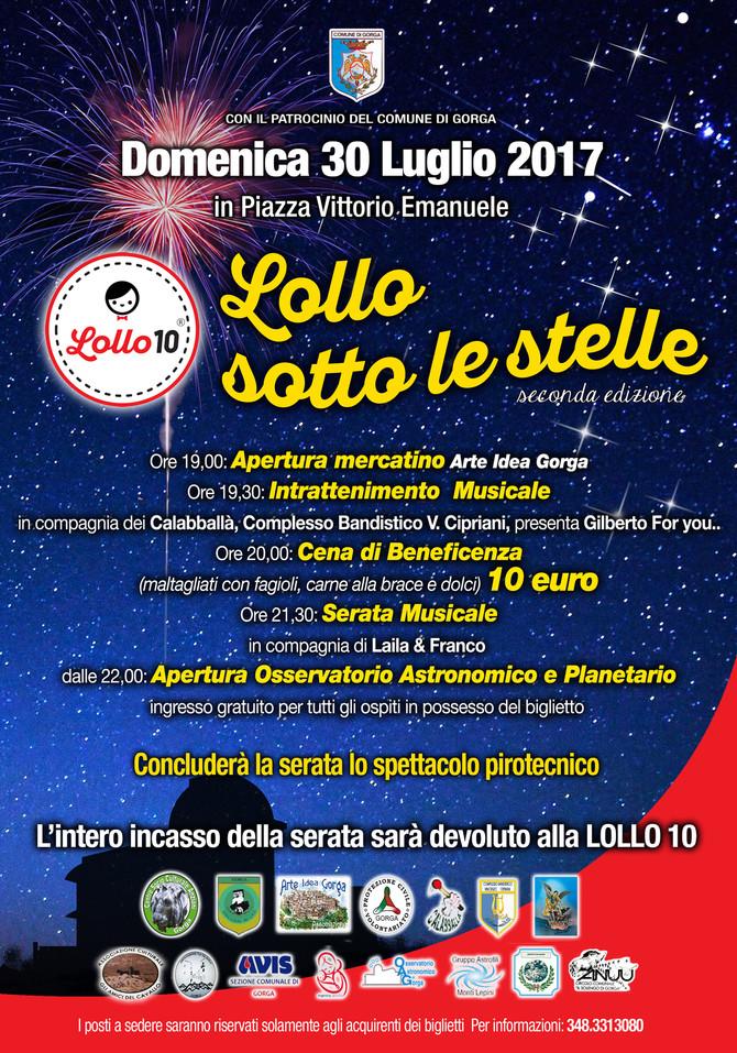 """Il 30 luglio a Gorga grande serata """"Lollo Sotto Le Stelle"""" seconda edizione"""
