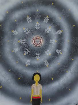 เด็กหญิงในหมอกดารา, 2554, 60.5 x 80.5 ซม