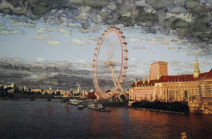 ลอนดอนอายริมฝั่งแม่น้ำเทมส์ ยามเย็น