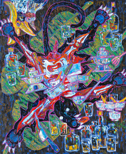 Party in the Jungle, 120 x 100 cm, oil o