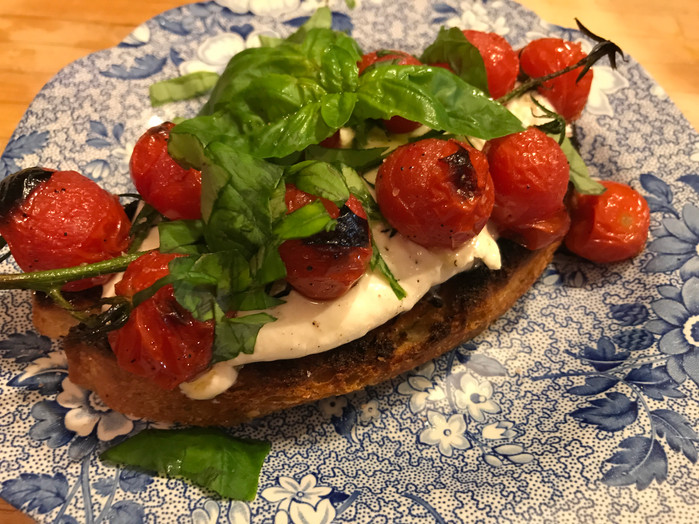 Wow them with Roasted Cherry Tomato and Burrata on Broiled Garlic Ciabatta MELISSA HORNUNG