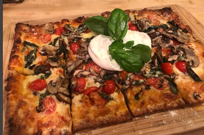 Burrata Margarita Flat Bread Pizza MELISSA HORNUNG