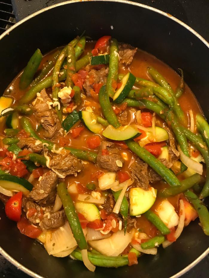Green Been Stew withGarden Veggies and Beef