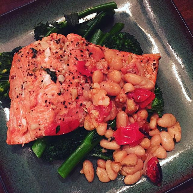 Grilled Sockeye Salmon and White Beans