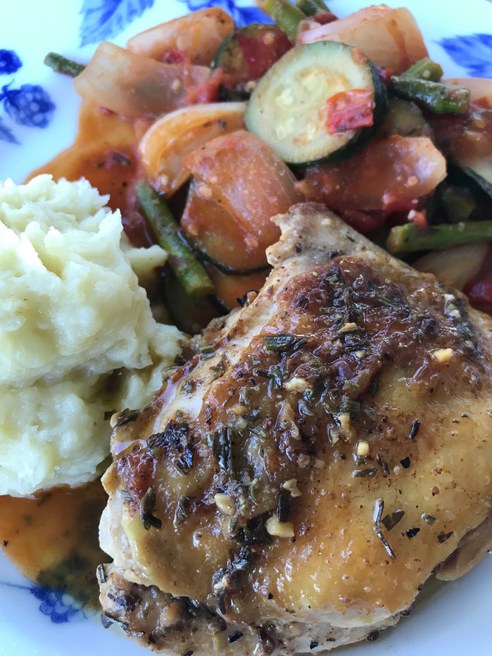 Pan Roasted RosemaryChicken with Farmers MarketRatatouilleand Potato Purée MELISSA HORNUNG