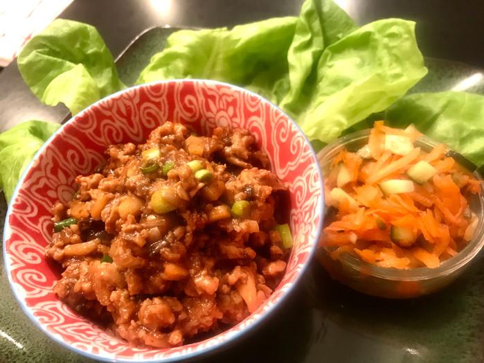Asian Chicken LettuceWraps with Carrot and Cucumber SlawMELISSA HORNUNG