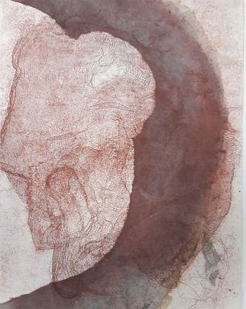 oona Hyland etching with chine colle red