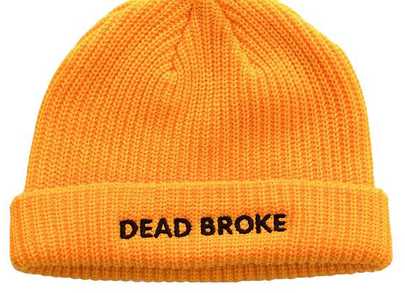 'DEAD BROKE' Yellow Beanie