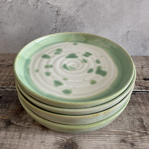 Small plate - green/white