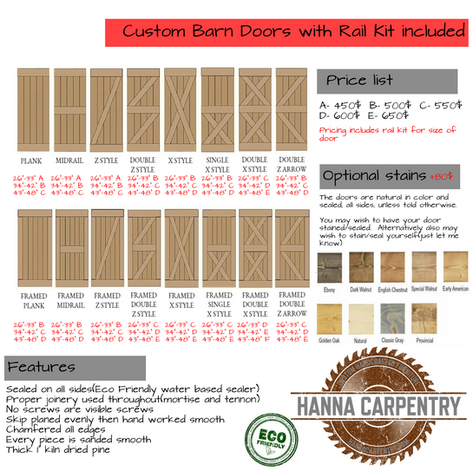 Barn doors order sheet