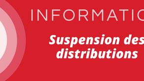 Suspension des distributions