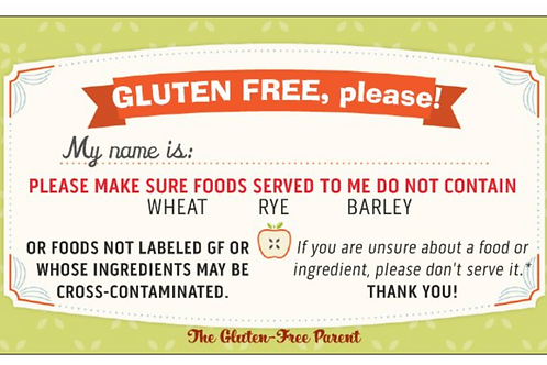 """""""Gluten-Free, Please""""Calling Cards"""