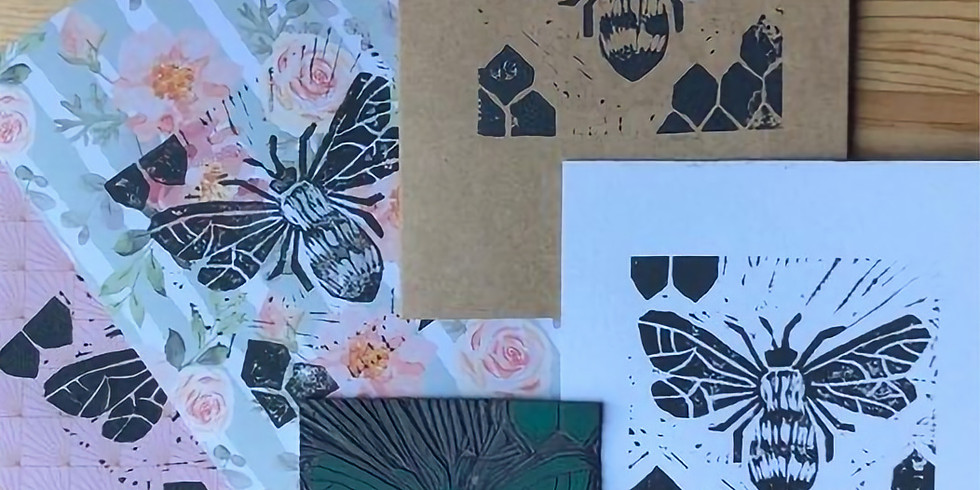 Zoom craft class series: Linocut Bee Print (or use your own motif)