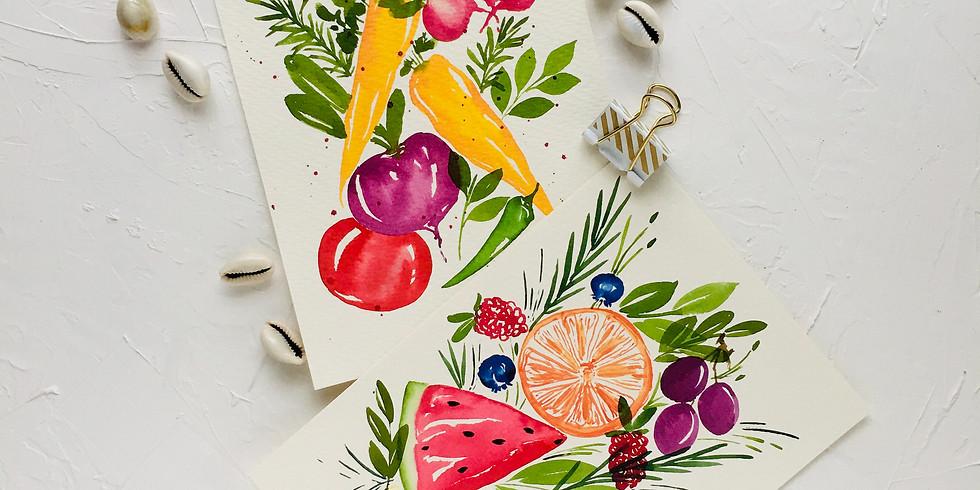 Beginner Watercolour Fruits and Veggies Workshop