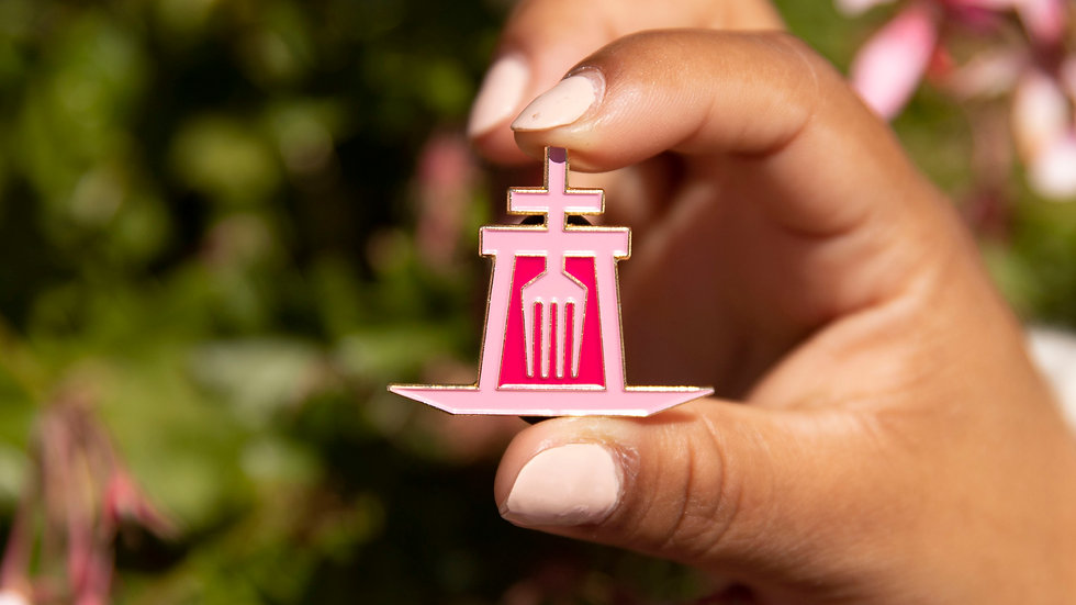 Riverside Food Lab Breast Cancer Pin