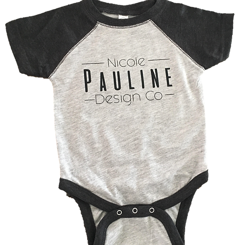 Vintage Heather/Charcoal Grey Logo Onesie