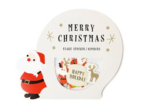 merry christmas flake stickers // santa snowglobe