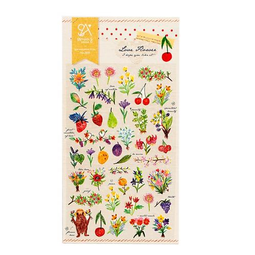cute korean stickers // love flower
