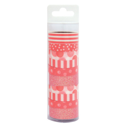 coral patterned washi tape pack