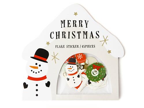 merry christmas flake stickers // snowman igloo