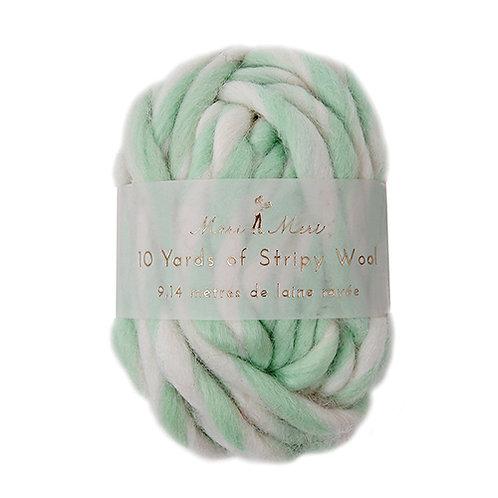 striped wool string // mint