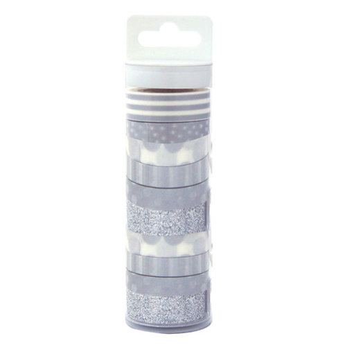 silver patterned washi tape pack
