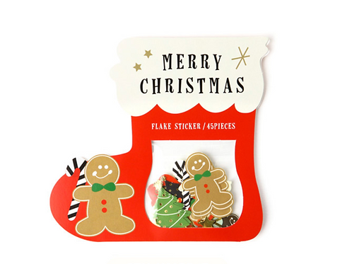 merry christmas flake stickers // gingerbread stocking