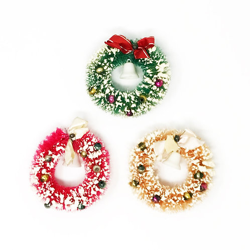 vintage frosted wreath ornaments
